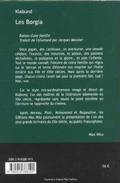 Les borgia - 4ème de couverture - Format classique