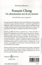 Francois Cheng ; un cheminement vers la vie ouverte - 4ème de couverture - Format classique