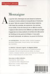 Le Magazine Litteraire ; Montaigne - 4ème de couverture - Format classique