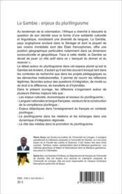 La Gambie t.2 ; enjeux du plurilinguisme ; actes du colloque international, faculté des lettres et sciences de l'université de Gambie - 4ème de couverture - Format classique