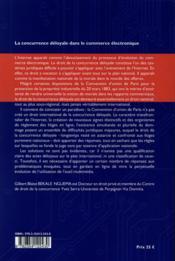 Concurrence deloyale dans le commerce electronique - 4ème de couverture - Format classique