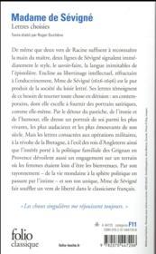 Lettres choisies - 4ème de couverture - Format classique