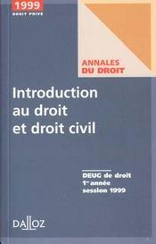 Introduction Au Droit Et Droit Civil 1999 - Intérieur - Format classique