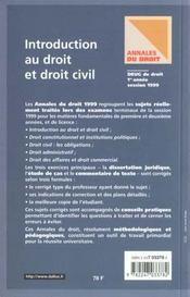Introduction Au Droit Et Droit Civil 1999 - 4ème de couverture - Format classique