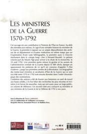 Les ministres de la guerre, 1570-1792 - 4ème de couverture - Format classique