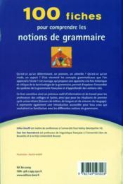 100 fiches pour comprendre les notions de grammaire - 4ème de couverture - Format classique