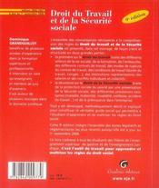 Droit du travail et de la sécurité sociale - 4ème de couverture - Format classique