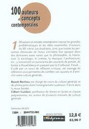 100 Auteurs Et Concepts Contemporains - 4ème de couverture - Format classique