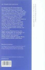Regards sur la musique au temps de Louis XV - 4ème de couverture - Format classique