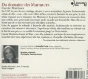 Du domaine des murmures - 4ème de couverture - Format classique
