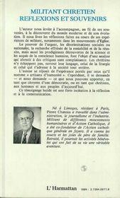 Militant Chretien Reflexions Et Souvenirs - 4ème de couverture - Format classique
