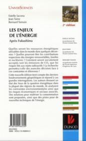 Les enjeux de l'énergie ; après Fukushima (2e édition) - 4ème de couverture - Format classique
