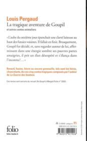 La tragique aventure de Goupil et autres contes animaliers - 4ème de couverture - Format classique