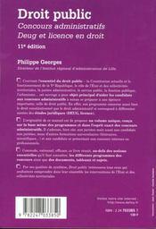 Droit Public - Concours Administratifs - Deug Et Licence En Droit 11eme Edition - 4ème de couverture - Format classique