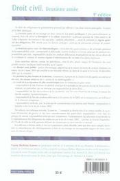 Droit Civil ; 2e Annee - 4ème de couverture - Format classique