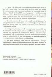 La Lecon De Philosophie Ii Preparation Aux Concours Capes/Agregation Philosophie - 4ème de couverture - Format classique