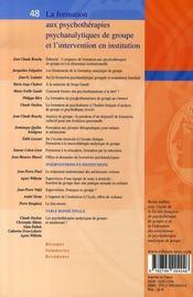 La formation aux psychothérapies psychanalytiques de groupe et l'intervention en institution - 4ème de couverture - Format classique