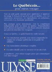 Le Quebecois Pour Mieux Voyager - 4ème de couverture - Format classique