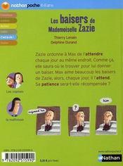 Les baisers de mademoiselle Zazie - 4ème de couverture - Format classique