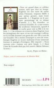 Eugenie Grandet - 4ème de couverture - Format classique