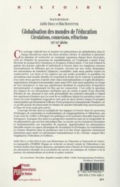 Globalisation des mondes de l'éducation ; circulations, connexions, réfractions, XIXe-XXe siècles - 4ème de couverture - Format classique