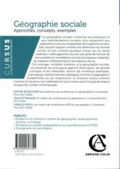 Géographie sociale ; approches, concepts, exemples - 4ème de couverture - Format classique