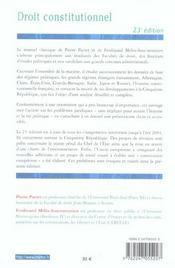 Droit constitutionnel - 4ème de couverture - Format classique