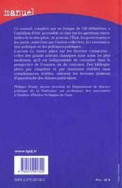 Sociologie politique - 4ème de couverture - Format classique