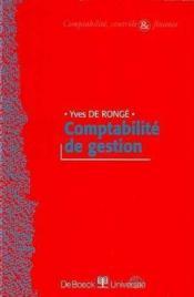 Comptabilite De Gestion. - Couverture - Format classique