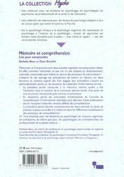 Memoire et comprehension - 4ème de couverture - Format classique