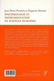 Épistémologie et instrumentation en sciences humaines - 4ème de couverture - Format classique