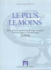 Le Plus Le Moins-Aide Memoire Bio Imagerie - Intérieur - Format classique