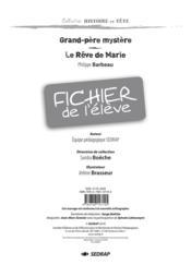 Grand-père mystère ; le rêve de Marie ; fichier de l'élève - Couverture - Format classique
