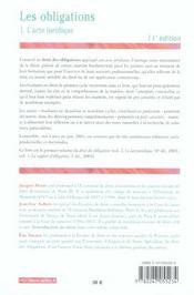 Les Obligations T.1 ; L'Acte Juridique - 4ème de couverture - Format classique