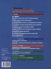 REVUE QUESTIONS INTERNATIONALES N.30 ; le Japon (édition 2008) - 4ème de couverture - Format classique