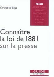 Connaitre La Loi De 1881 Sur La Presse - Intérieur - Format classique