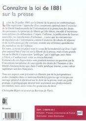 Connaitre La Loi De 1881 Sur La Presse - 4ème de couverture - Format classique