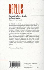 Voyage à la Sierra Nevada de Sainte-Marthe ; paysages de la nature tropicale - 4ème de couverture - Format classique