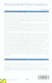Droit general de l'union europeenne - 4ème de couverture - Format classique