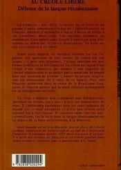 Du Creole Opprime Au Creolelibere Defense De La Langue - 4ème de couverture - Format classique