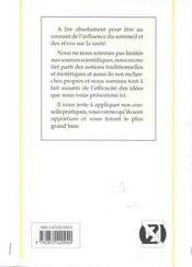 Sommeil. Reves Et Sante - 4ème de couverture - Format classique