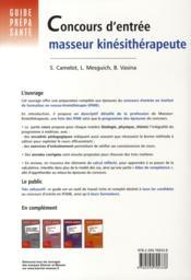 Concours d'entrée masseur-kinésithérapeute - 4ème de couverture - Format classique