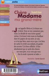 Chère Madame ma grand-mère - 4ème de couverture - Format classique