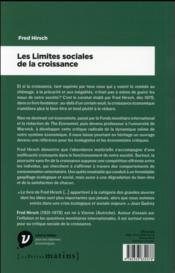 Les limites sociales à la croissance - 4ème de couverture - Format classique