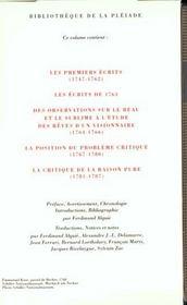 Oeuvres philosophiques t.1 ; des premiers écrits à la critique de la raison pure - 4ème de couverture - Format classique