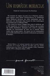 Un remede miracle - 4ème de couverture - Format classique