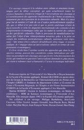 Culture Et Structures Economiques ; Vers Une Economie De La Diversite - 4ème de couverture - Format classique