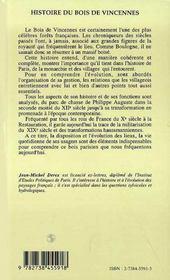 Histoire Du Bois De Vincennes ; La Foret Du Roi Et Le Bois Du Peuple De Paris - 4ème de couverture - Format classique