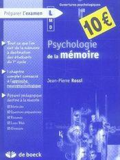 Psychologie de la mémoire - Intérieur - Format classique