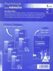 Psychologie de la mémoire - 4ème de couverture - Format classique